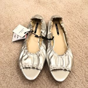 NWT Zara silver leather open toe flats size 39 (8)